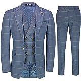 Mens Classic Light Blue Windowpane Check 3 Piece Suit Retro Vintage Tailored Fit