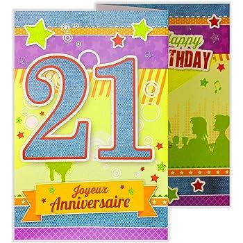 Afie 882126 B Carte 3 Volets Joyeux Anniversaire 21 Ans Amazon Fr