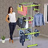 HOUSEWARE™ Stainless Steel Heavy Duty Double Pole 3 Layer Cloth Drying Stand for Balcony (Green Drying Stand)