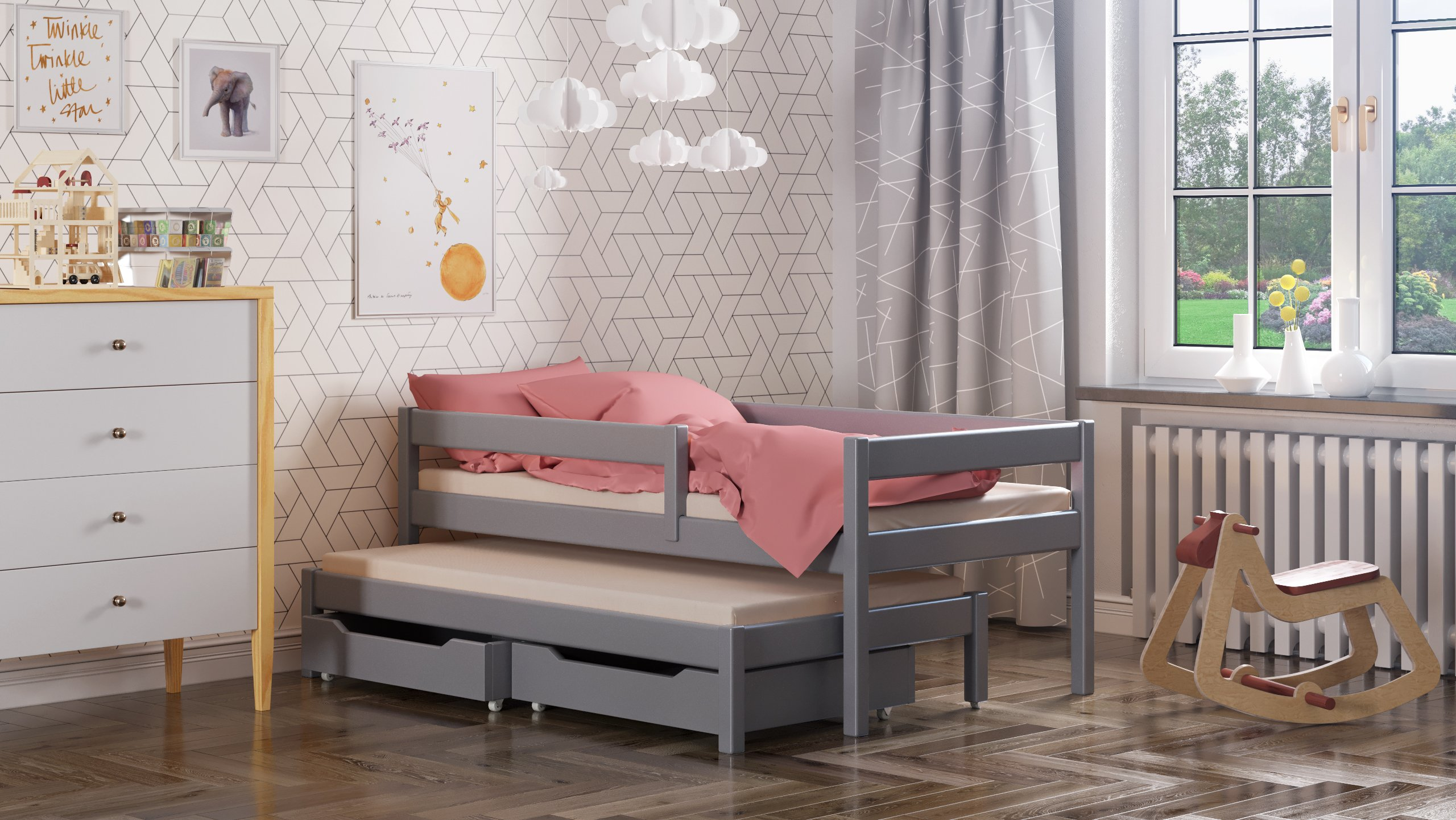 Maria single bed with trundle and drawers for kids made of solid wood - different sizes - 6 colours (Grey, 200x90 / 190x90) WNM Group Bed made entirely of exclusive solid pine wood, frame strength up to 300 kg Protective barrier for size 140x70 is 80cm for other sizes 105cm The bed is suitable for 10-12 cm mattresses. (Mattress is not included) 1