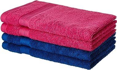 Solimo 100% Cotton 4 piece Hand Towel Set, 500 GSM