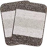 SARAL HOME EASY LIVING Striped Antiskid Bathmat (Brown, Microfiber, 35X50 CM)