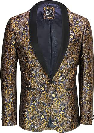 Xposed Mens Vintage Gold Paisley Print on Navy Tuxedo Dinner Jacket Smart Tailored Fit Blazer