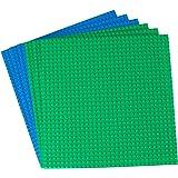 Strictly Briks Pack de 6 Bases para Construir - Compatible con Todas Las Grandes Marcas - 25,4 x 25,4 cm - Verde, Azul