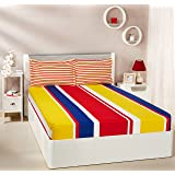 Amazon Brand - Solimo Mondrian Stripes 144 TC 100% Cotton Double Bedsheet with 2 Pillow Covers, Blue and Yellow, Striped