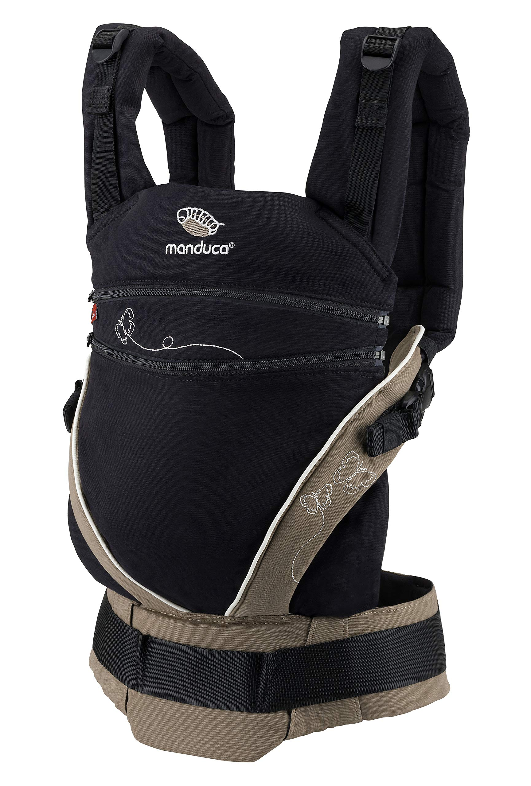 manduca XT Limited Edition > Butterfly Black < Baby Carrier with Adjustable Seat, Front, Hip & Back Carry, Organic Cotton, No Infant Insert Needed, Adapts to Babies from Newborn to Toddler (3.5-20kg) Manduca This baby carrier adapts from newborn to toddler. Infinitely adjustable seat (16-50cm) without buttons, knots, Velcro or cord system. Novel tension arches support baby's spine & hip Three height options thanks to the patented back extension & integrated zip-in. Multifunctional headrest (classic hood or rolled up as neck support). No accessories needed. One Size 3 carry positions: front, hip and back carrier. Not intended for face-out position. Supports the squat-spread position (M-Position) 3