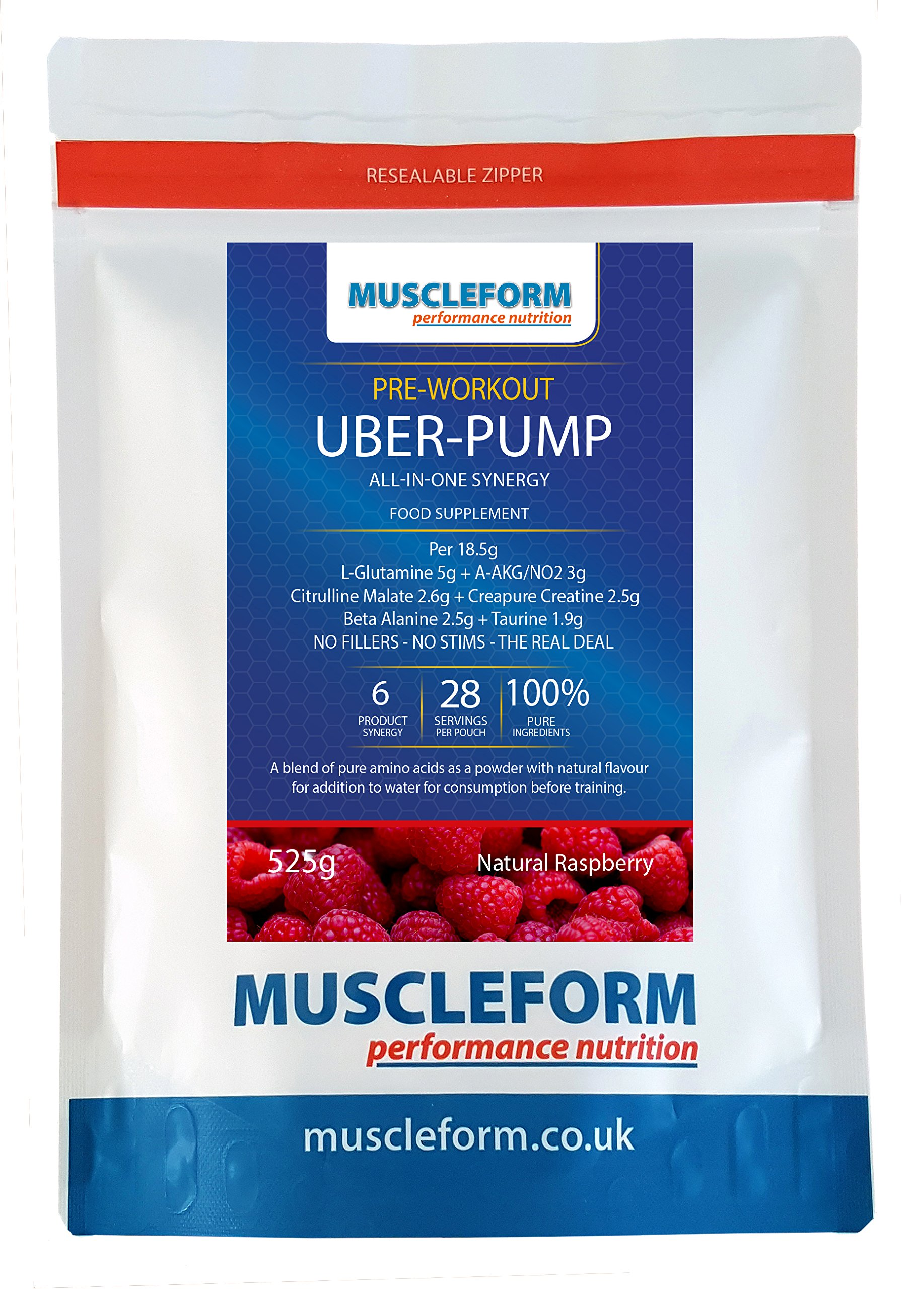 Muscleform UBER-Pump All in One Pre Workout Pump – 525g resealable Pouch – Berry Flavour – Fast Delivery | Free Express…