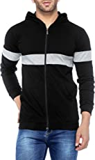 V3Squared Men's Cotton Full Sleeves Zipper Hooded T-Shirt