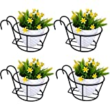 D&V ENGINEERING - Creative in innovation Hanging Flower Pot Holder Railing Potted Plant Stand for Home Balcony Décor, Black,