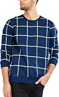 Maniac Men's Cotton T-Shirt (Mens-Ss18-Rn-Fs-Checked-Tshirt-Navy)