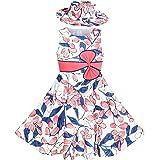 Sunny Fashion Vestito Bambina 2 Pecs Cappello Fiore Estate Festa Vacanza Principessa Bambino 4-12 Anni