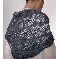 Stola coprispalle elegante lavorata a mano con tecnica forcella in pura lana e lurex