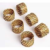 ESPO Juego de 6 servilleteros de bambú como decoración de mesa para el comedor para servilletas de tela en plata y oro o para