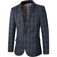 Benibos Mens Slim Fit Plaid Tweed 1 Button Blazer Suit Jacket