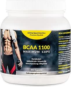 EXVital BCAA 1100 Maximum Caps, Aminosäure, 300 Kapseln in Spitzenqualität, mit Vitamin B6, 1er Pack (1 x 384g)