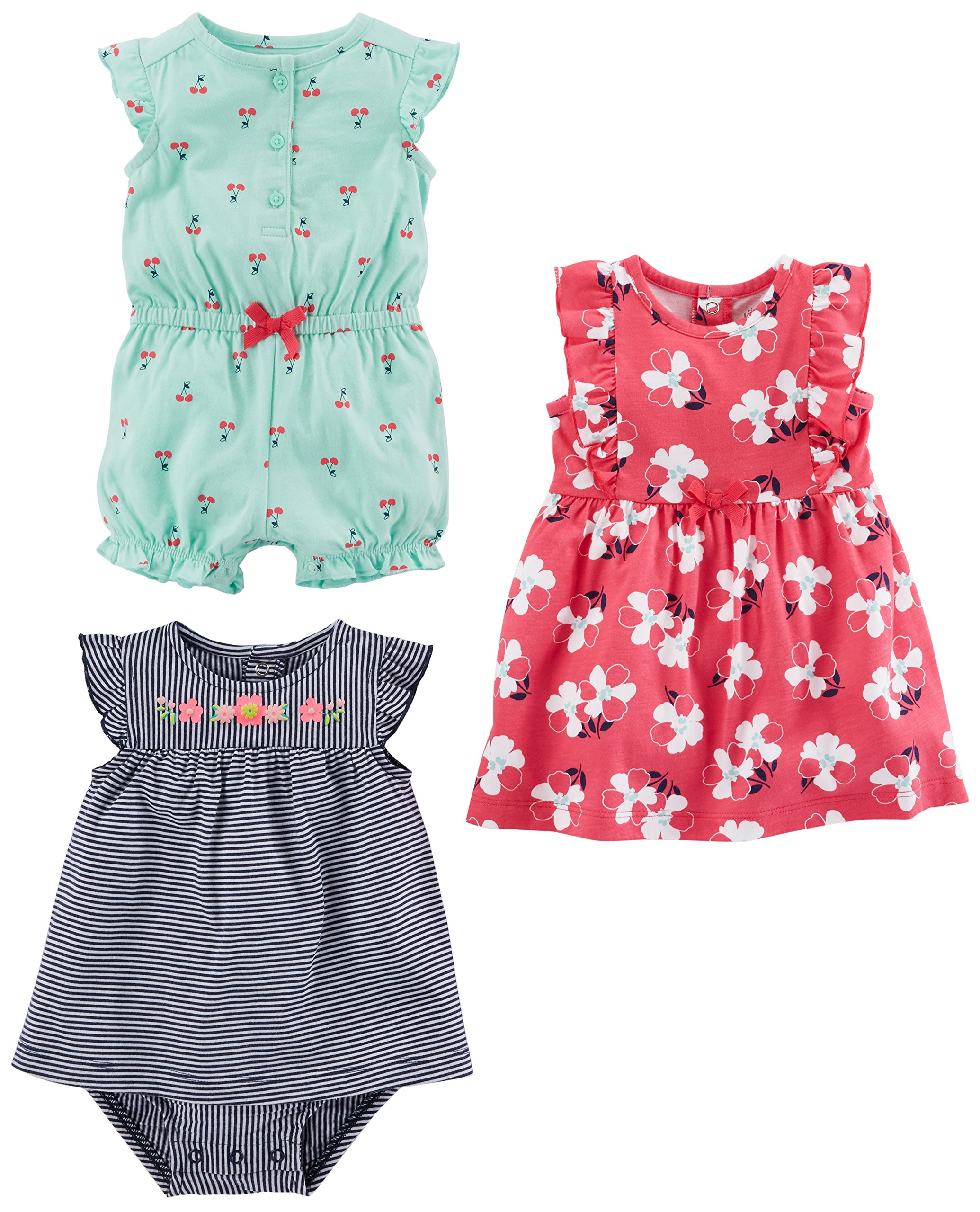 Simple Joys by Carter's Baby Girls paquete de 3 pelele, traje de sol y vestido 1
