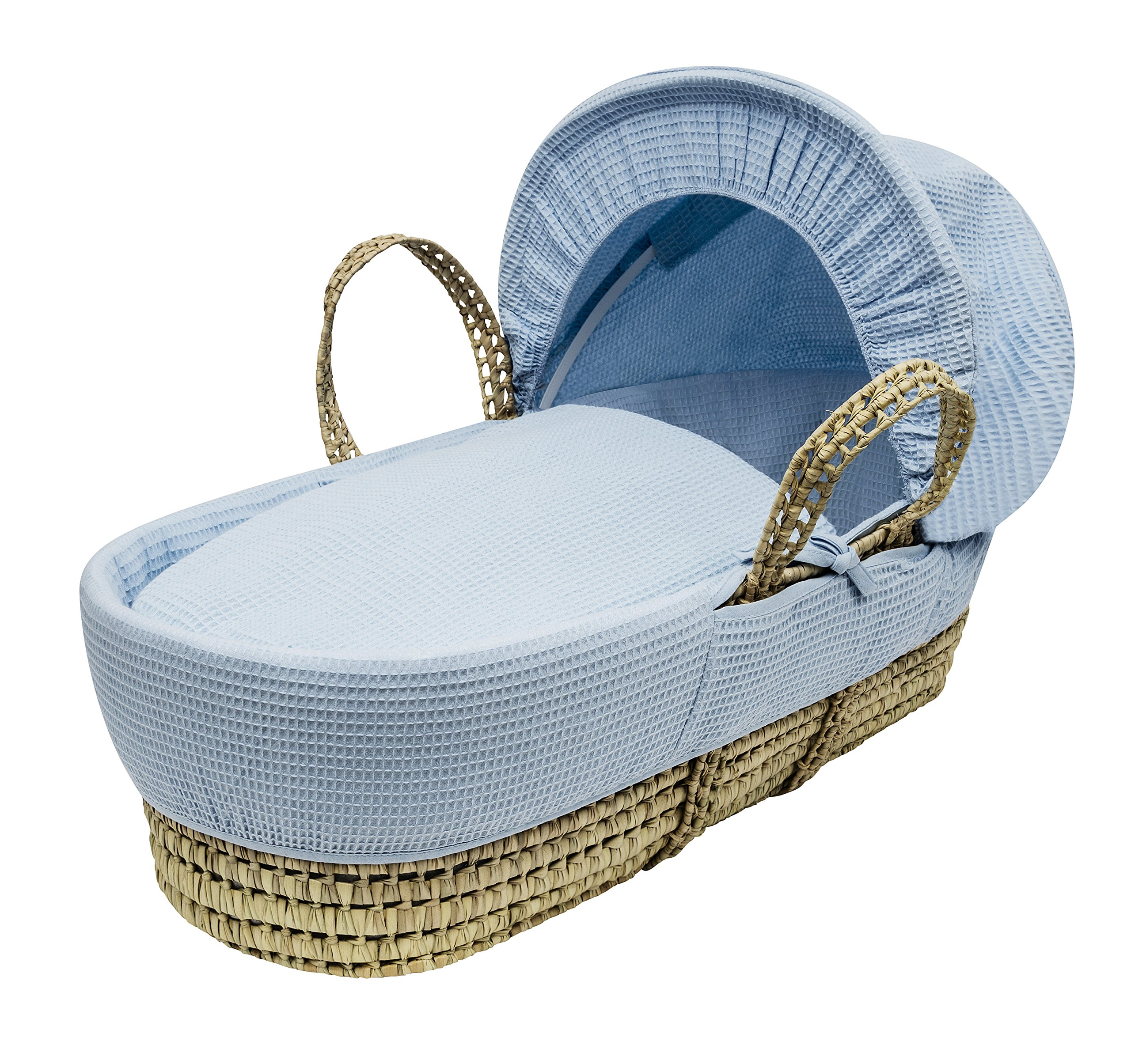 Blue Waffle Moses Basket Dressings only(Basket not included) Elegant Baby Dressings For Moses Baskets Includes Padding,Quilt, Liner,Fabric Hood Basket and Mattress and Hood bars are NOT included 2