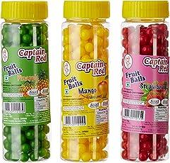 Captain Red Fruit Balls, Strawberry, 125g with Fruit Balls, Mango, 125g and Fruit Balls, Pineapple, 125g