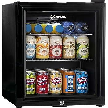 Subcold Super50 LED – Mini Fridge Black | 49L Beer, Wine and Drinks Fridge | LED Light + Lock and Key | Low Energy A+