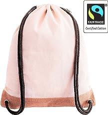 Hochwertiger Fair Trade zertifizierter Turnbeutel aus Jute und Baumwolle für Damen, Herren, Mädchen und Jungen - Individueller Jutebeutel, Natur, für Reisen, Freizeit, Yoga und zum Einkaufen - Qualitätsbeutel