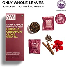 Onlyleaf Hibiscus Cinnamon Clove Green Tea, 27 Tea Bags with 2 Free Exotic Samples