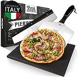 Pizza Divertimento - Pierre à Pizza pour Four et Gril à gaz - avec Curseur et Coupe-Pizza - Pierre à Pizza en cordiérite - Ba