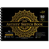 Zen Sangam Artists' A4 Sketch Pad Drawing Notebook (Spiral), 50 Sheets(100 Pages) 21x29.7cm, 150 GSM Acid Free Ivory Cartridg