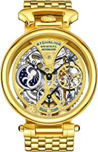 Stuhrling Original Men's Automatic Watch with Gold Dial Analogue Display and Gold Stainless Steel Bracelet 797. 02