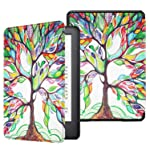 Fintie Slimshell Case for All-New Kindle - Lightweight Premium PU Leather Protective Cover with Auto Sleep/Wake , Love Tree