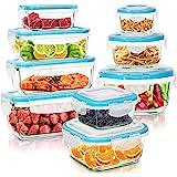 KICHLY - Glazen voedselopslagcontainer - 18 Stuks (9 Containers en 9 Transparante Deksels) - Vaatwasmachinebestendig - Magnet