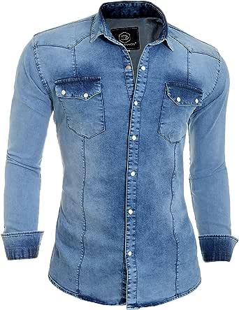 Men's Bleach Thick Denim Jean Shirt Regular Collar Pearl Studs Pockets Stretch