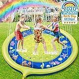 Jojoin Splash Pad, Anti-Rutsch Spielzeug Sprinkler Play Matte, 170CM Wasserspielzeug Spielmatte, Summer Langlebiges Outdoor Garten Wesentliche lustiges Spielzeug Sprinklerpool für Kinder (Gelb)