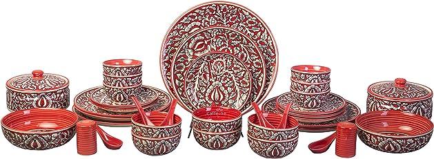 Caffeine Stoneware Handmade Microwave Safe 37 Pieces Dinner Set, Red