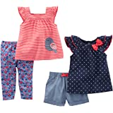 Simple Joys by Carter's Infant 4-Piece Playwear Set Bimba 0-24, Pacco da 4