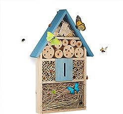 Relaxdays Insektenhotel für Schmetterlinge, Käfer, Bienenhaus zum Aufhängen, Garten, Holz, HxBxT: 48,5 x 31 x 7 cm, blau