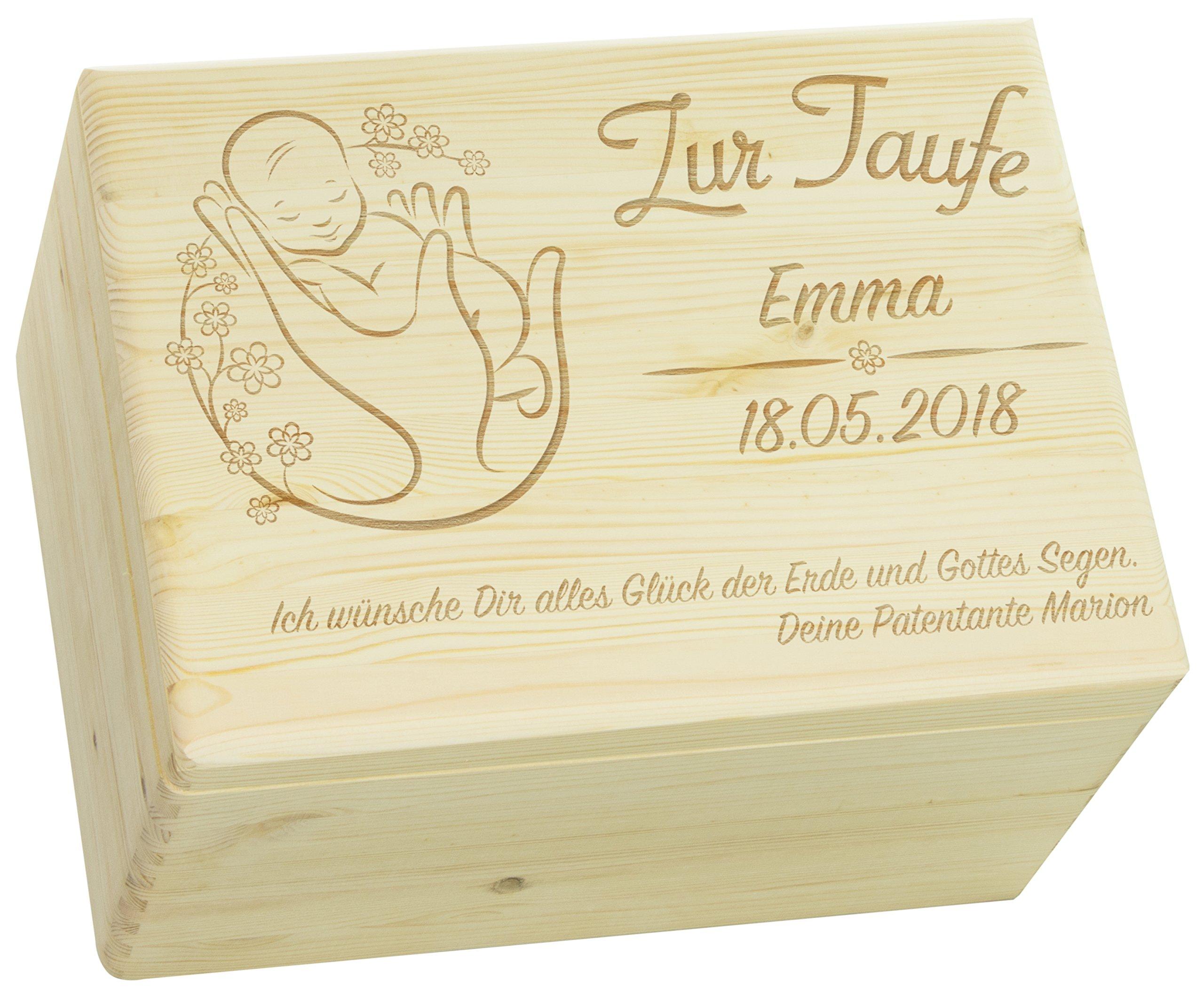 LAUBLUST Holzkiste mit Gravur - Personalisiert mit ❤️ Name | Datum | WIDMUNG ❤️ - Natur Größe XL - Blumenbaby Motiv - Geschenkkiste zur Taufe 1