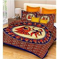 RajasthaniKart® Comfort Rajasthani Jaipuri Traditional Sanganeri Print 144 TC Cotton Double Bedsheet with 2 Pillow…