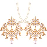 I Jewels Traditional Gold Plated Chandbali Earrings With Hair Chain Encased With Faux Kundans For Women/Girls (E2453W)