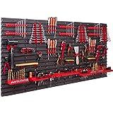 Opbergsysteem, wandrek, 158 x 78 cm, gereedschapshouders, opbergkast, extra sterke wandplaten, uitbreidbaar, werkplaatsrek, o
