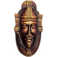 New Life Home Decorative Handmade and Hand painted Terracotta Copper Egyptian Mask for Wall Hanging Decor (Gold)