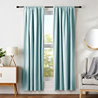 "AmazonBasics Room Darkening Blackout Curtain Set of 2 with Tie Backs - (7 Feet - Door) 52"" x 84"", Seafoam Green"