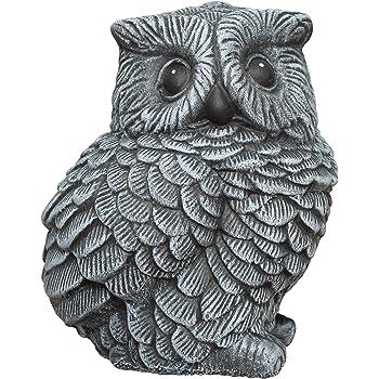 Tiefes Kunsthandwerk Steinfigur Eule - Schiefergrau Deko Figur Garten Frostsicher
