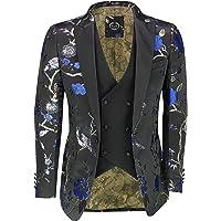 Xposed Mens Floral Bird Embroidery Black Gold Tux Jacket Stunning Party Wedding Blazer Waistcoat