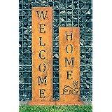 Welcom + Home – patina standaard van SteelTastic ★ set van 2 ★ perfecte roestdecoratie voor de tuin, entree of terras ★ premi