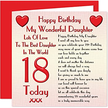 Daughter 18th Happy Birthday Card