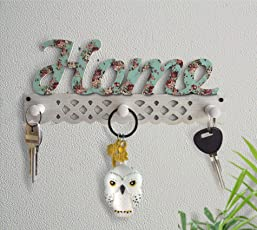 TIED RIBBONS Key Holder for Wall Wooden (12 cm x 39 cm, Wood)