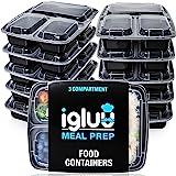 Igluu Meal Prep - [Lot de 10] Boîtes alimentaires à 3 compartiments pour préparation des repas - Réutilisables, sans BPA - Co