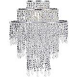 Waneway Pendentif chrome large 3 niveaux avec billes étincelantes, abat-jour chandelier de plafond avec gouttelettes bijoux e