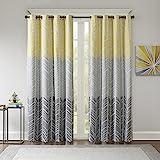 Intelligent Design Adel Blackout Bedroom, Casual Window Livingroom, Family, Geometric Grommet Room Darkening Black Out Curtai
