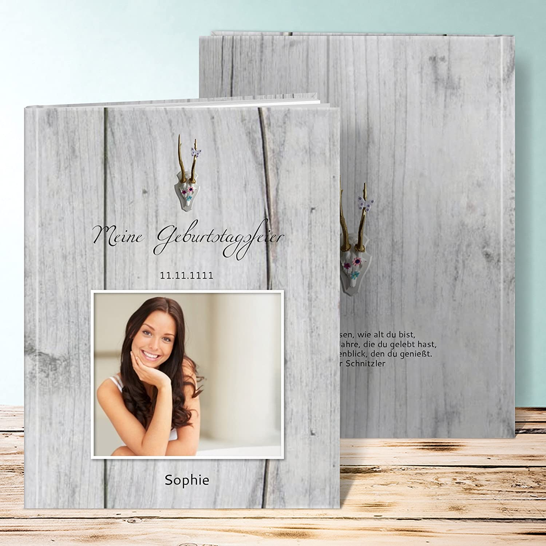 Amazon.de: Fotoalbum 18 Geburtstag, Geweih 40 Seiten, Hardcover 234x296 Mm  Personalisierbar, Grau